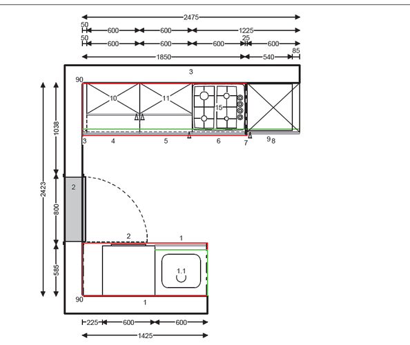 Technische tekening keuken maken for Tekening badkamer maken
