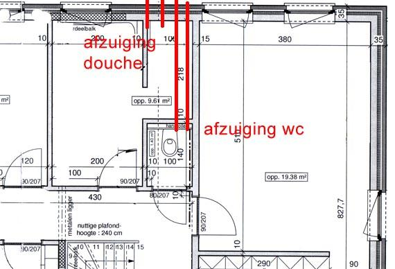 Afzuiging op douche en op 2 wc\'s - Werkspot