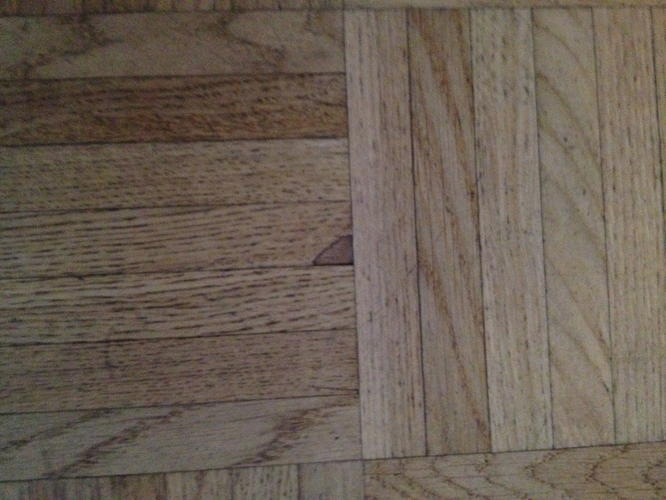 Eiken mozaïek vloer schuren en lakken werkspot