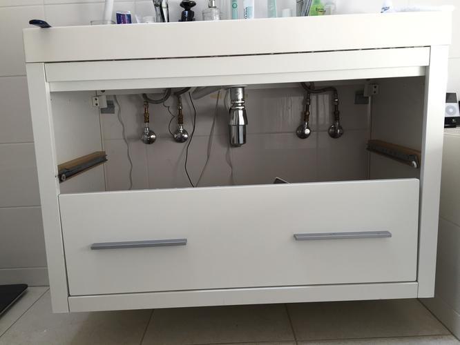 Badkamermeubel met 6 lades onder bestaande wasbak werkspot