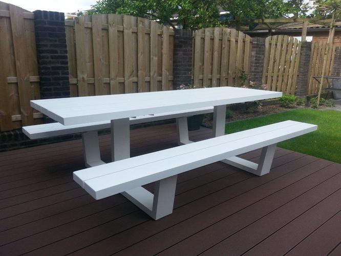 Aluminium tuintafel type picknicktafel werkspot for Schilderij op aluminium