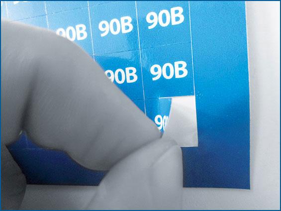 etichetta per packaging blu