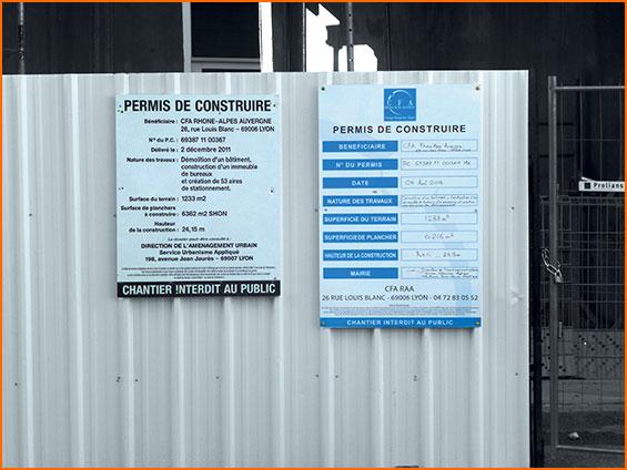 panneau permis de construire inderdit au public