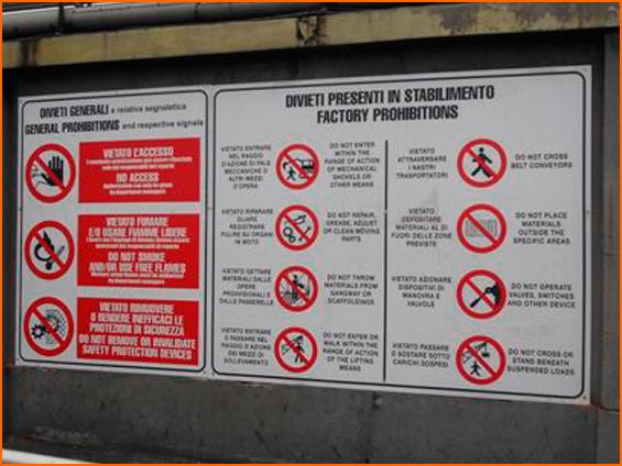 segnaletica industriale e sicurezza