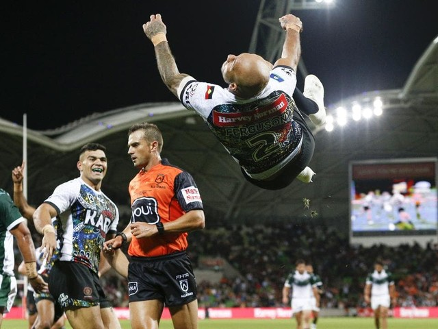 Heart in mouth: Arthur won't be thrilled with Fergo's amazing post-try celebration
