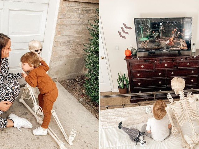 A Toddler's Been Bringing a 5-Foot Decorative Skeleton Wherever He Goes, and It's Adorable