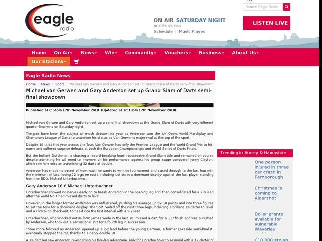 Michael van Gerwen and Gary Anderson set up Grand Slam of Darts semi-final showdown