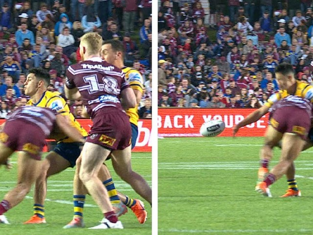 Manly ace Jorge Taufua channels his 'inner Matai' to bend Eels gun Dylan Brown in half