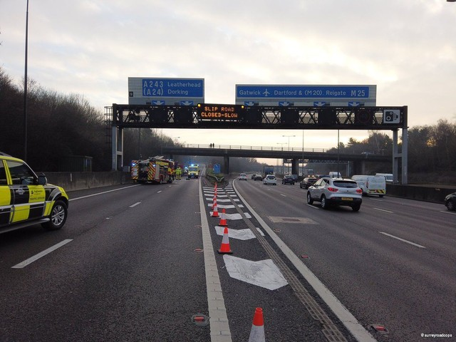 One person rushed to hospital after M25 crash