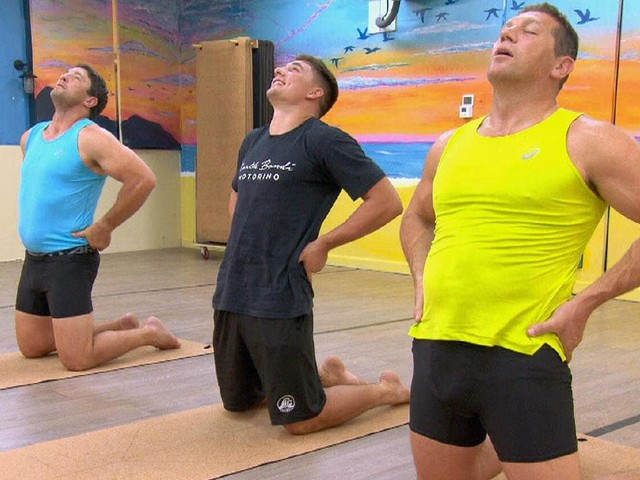 Bryan Fletcher and Nathan Hindmarsh's hilarious Bikram yoga session with Roosters star Victor Radley