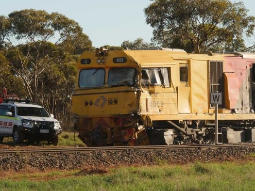 Elderly freight train drivers badly hurt in collision with road train