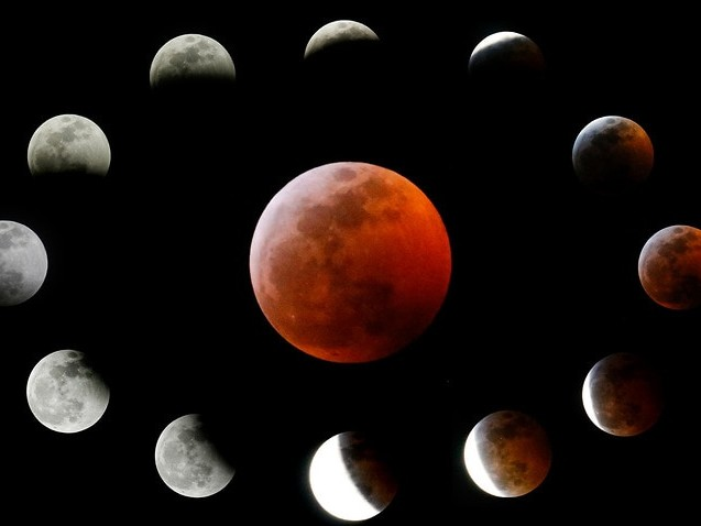 Blood moon draws skywatchers out