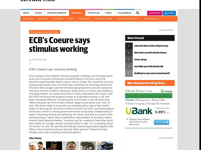 ECB's Coeure says stimulus working