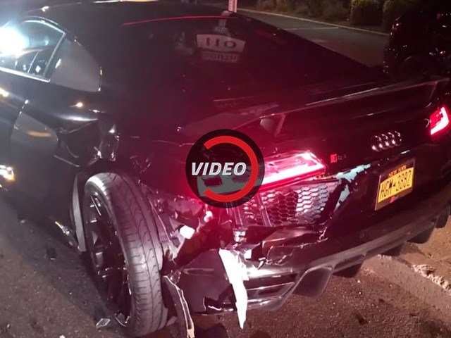 Another Ford Mustang Crashes, This Time Totaling An Audi R8 V10 Plus