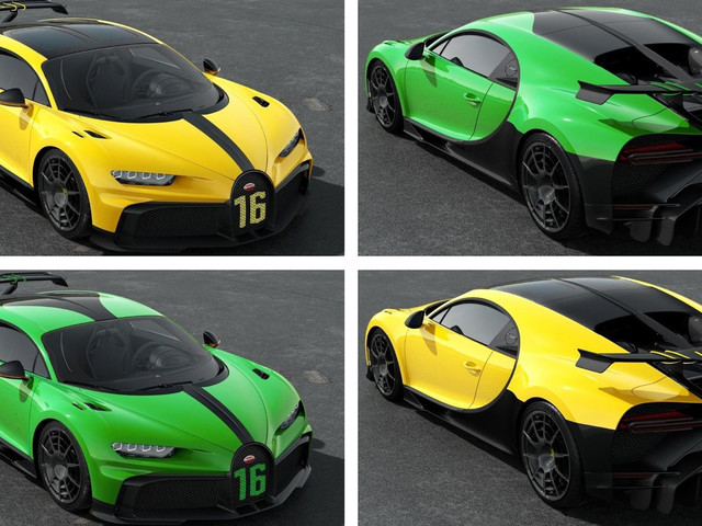 Bugatti Chiron Pur Sport Shown In Lively Yellow And Green Liveries