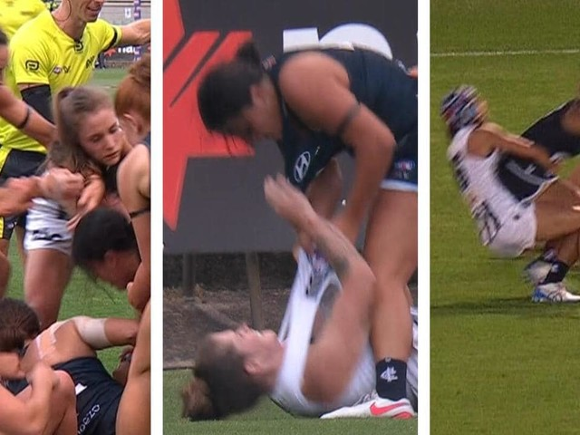 Tensions boil over between Carlton and Collingwood in fiery AFLW season-opener