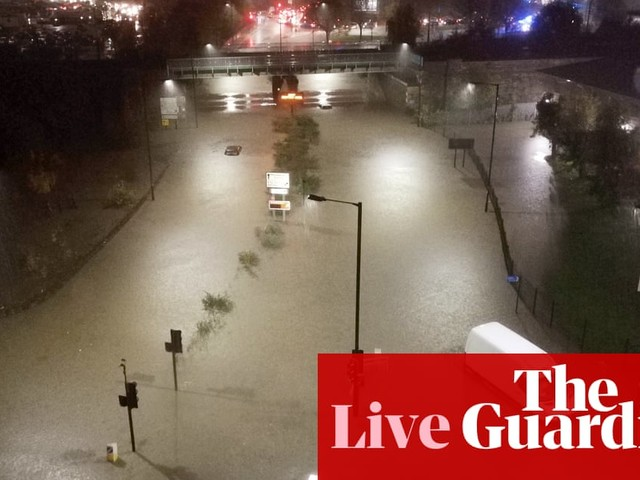 UK flooding: woman's body pulled from water in Derbyshire, police say – latest news