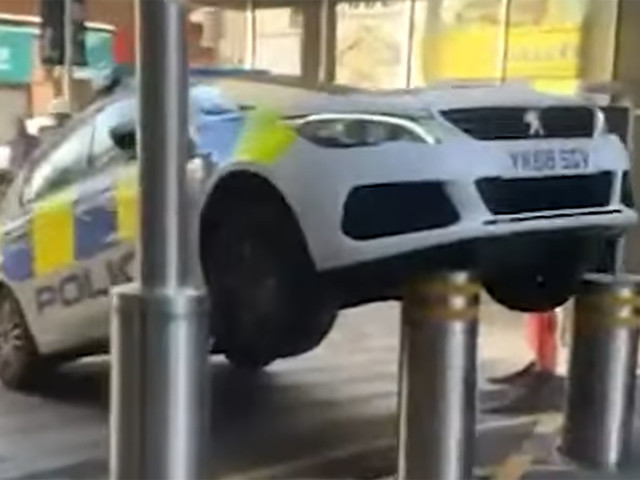 Police Car Gets Impaled By Retractable Bollard After Unfortunate Parking Job