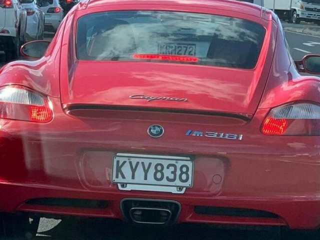 Porsche Cayman Driver Trolls BMW Owners With M 318i Badges