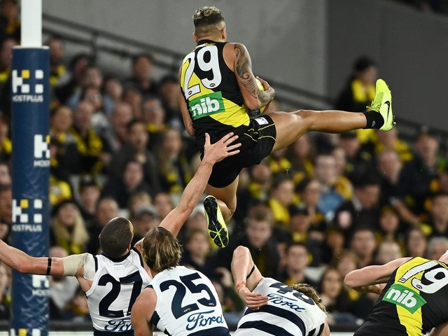 'Give him the car already': AFL world goes wild for Tiger's 'Mark of the Year'
