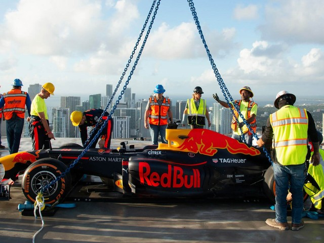 Red Bull Performs Donuts On Top Of 700-Foot High Building In Miami