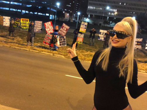 Kim Petras Holds Impromptu Photoshoot In Front Of The Westboro Baptist Church Picketing Her Concert
