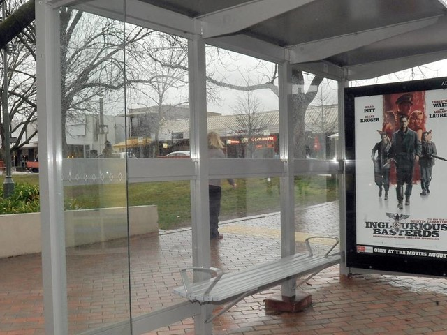Bus stops targeted with sling shots in vandalism spree
