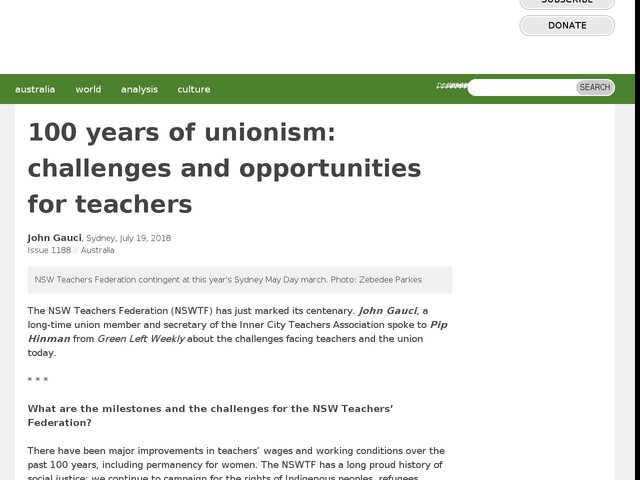 100 years of unionism: challenges and opportunities for teachers