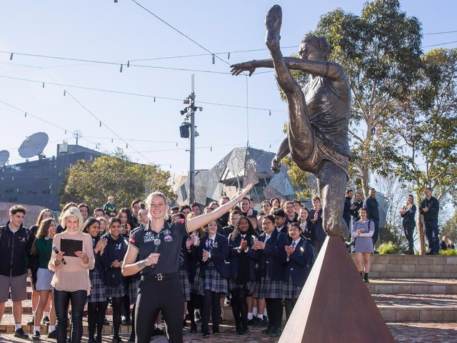 Tayla Harris has iconic statue of midair kick unveiled at Federation Square