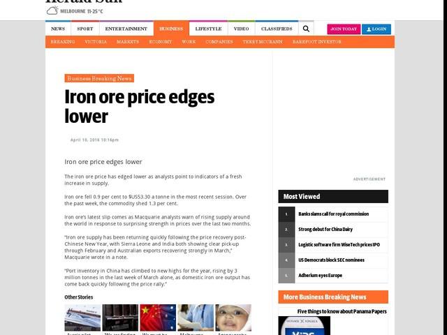 Iron ore price edges lower