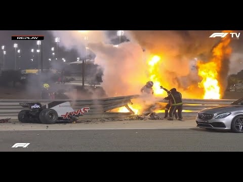 Romain Grosjean Survives Horrific F1 Crash As His Haas Gets Torn In Half And Bursts Into Flames