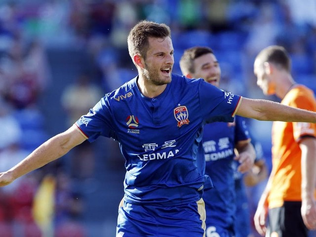 The Newcastle Jets beat Brisbane Roar 2-0 in the final A-League match of the weekend
