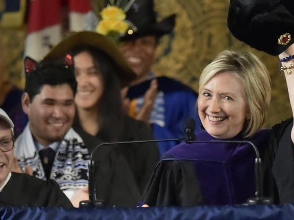 Hillary Clinton trolls Trump with Russian cap at Yale speech