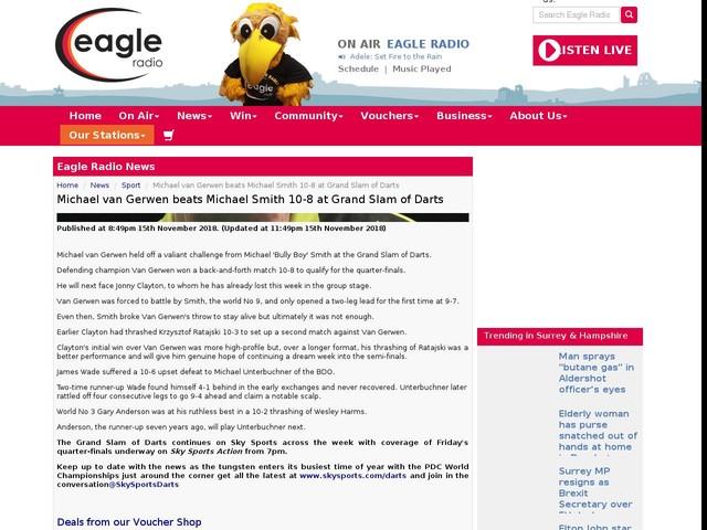 Michael van Gerwen beats Michael Smith 10-8 at Grand Slam of Darts