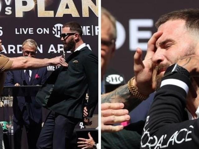 Canelo Alvarez, Caleb Plant throw punches as press conference explodes