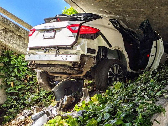 Maserati Levante Gets Wedged Under Bridge In California Following Police Chase
