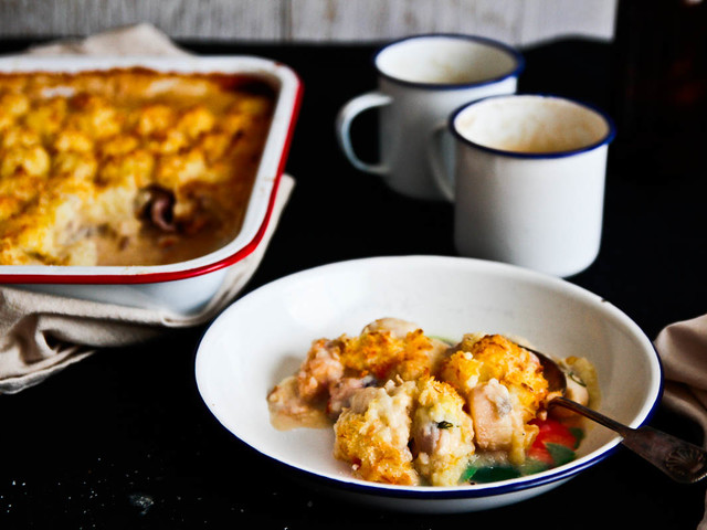 The BEST HEALTHY Fish & Scalloped Potato Pie!