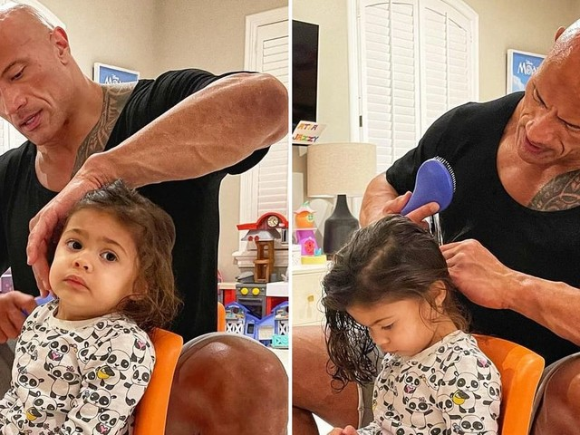 Dwayne Johnson's Sweet Post About Doing His Daughter's Hair Makes Me Want to Call My Dad