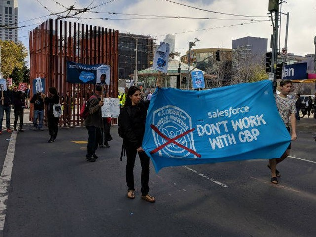 Salesforce dogged by protests, leaked emails, and guerrilla blimps on first day of Dreamforce