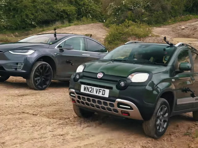 Can The Tesla Model X Beat An 83 HP Fiat Panda Cross In An Off-Roading Competition?