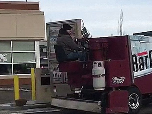 Canadian National Hero Takes A Zamboni Through A Tim Hortons Drive-Thru