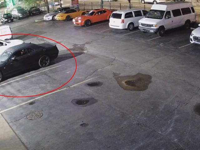 Watch Thieves Steal A Black Dodge Challenger SRT Hellcat