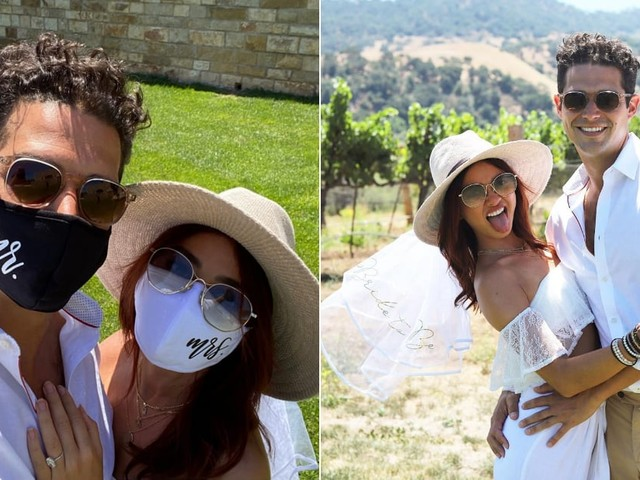 """Sarah Hyland and Wells Adams Made the Most of Their OG Wedding Date in """"Mr."""" and """"Mrs."""" Face Masks"""