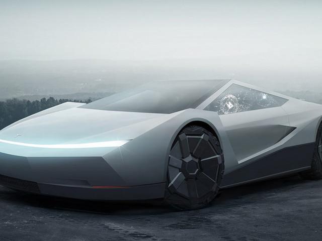 Tesla Cybertruck Styling Sort Of Works On A Two-Door Sports Car