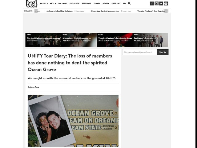UNIFY Tour Diary: The loss of members has done nothing to dent the spirited Ocean Grove