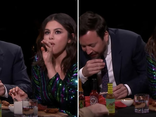 Selena Gomez and Jimmy Fallon Are Going to Finish Their Hot Wings, Even If They Cry Doing It