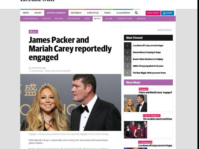 Packer and Mariah Carey 'engaged'
