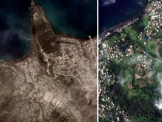 Satellietbeelden tonen schade na zware vulkaanuitbarsting