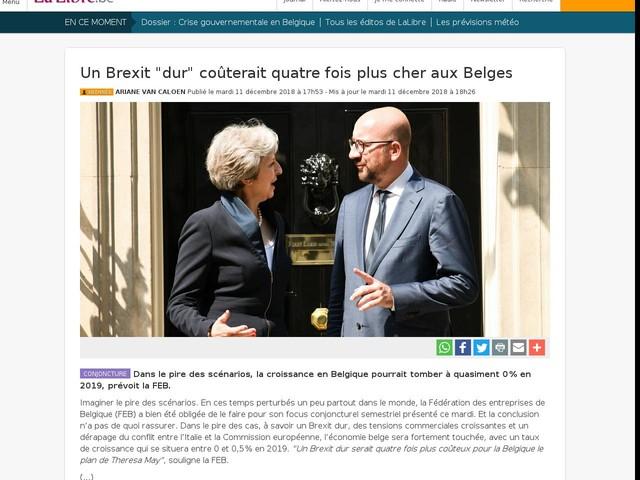 """Un Brexit """"dur"""" coûterait quatre fois plus cher aux Belges"""