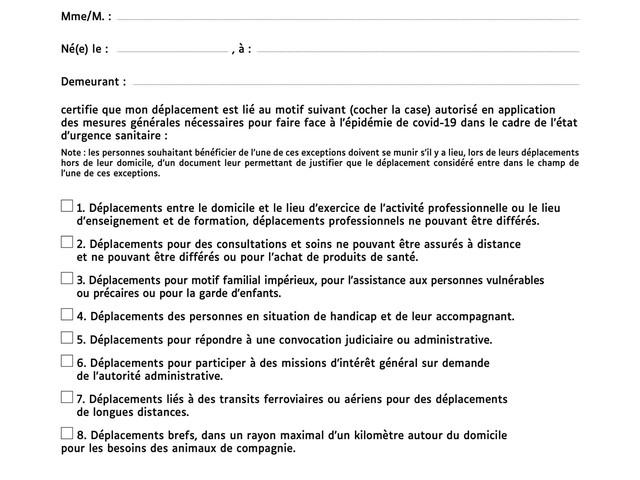 Couvre-feu à 18h : téléchargez la nouvelle attestation de déplacement dérogatoire